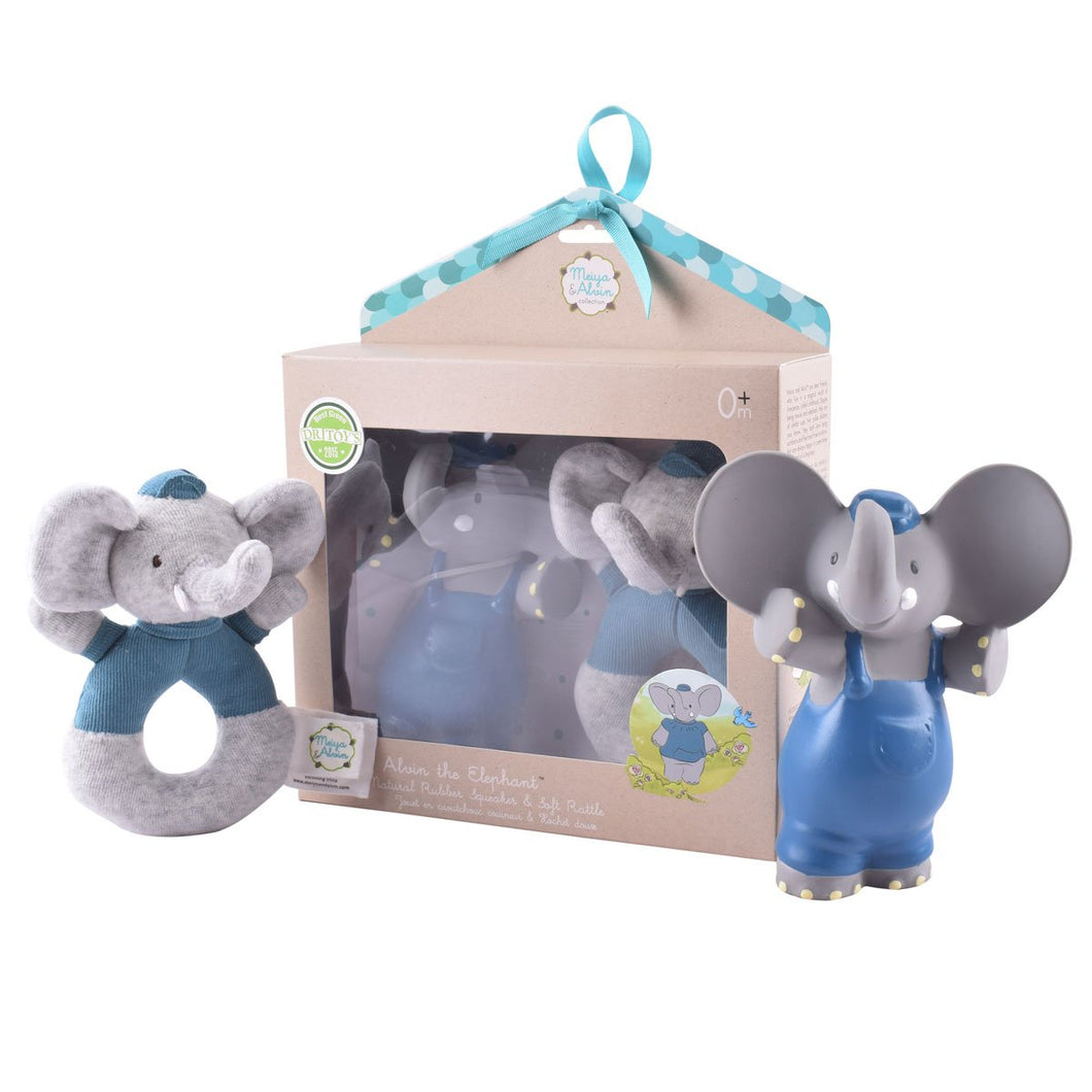 Alvin The Elephant Rubber Squeaker Toy With Soft Head Rattle As A Gift Set - Tikiri Toys