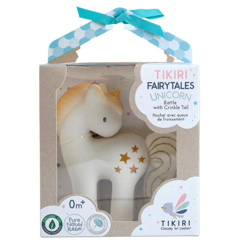 Shining stars unicorn natural rubber baby rattle toy