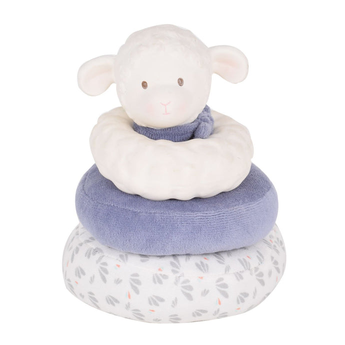Lucas Lamb Stacker With Blue scarf - Tikiri Toys