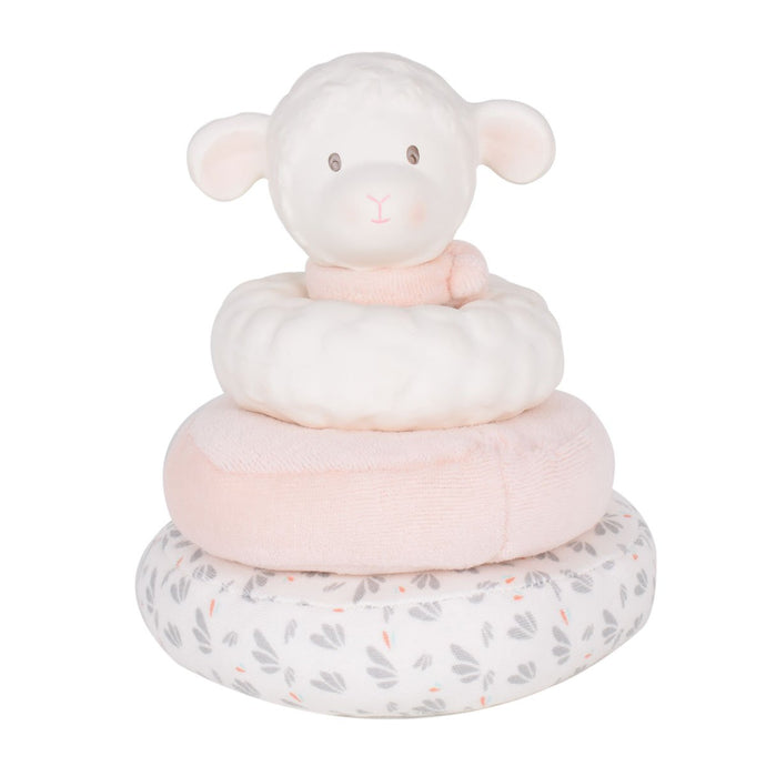 Lila Lamb Stacker with Pink scarf - Tikiri Toys