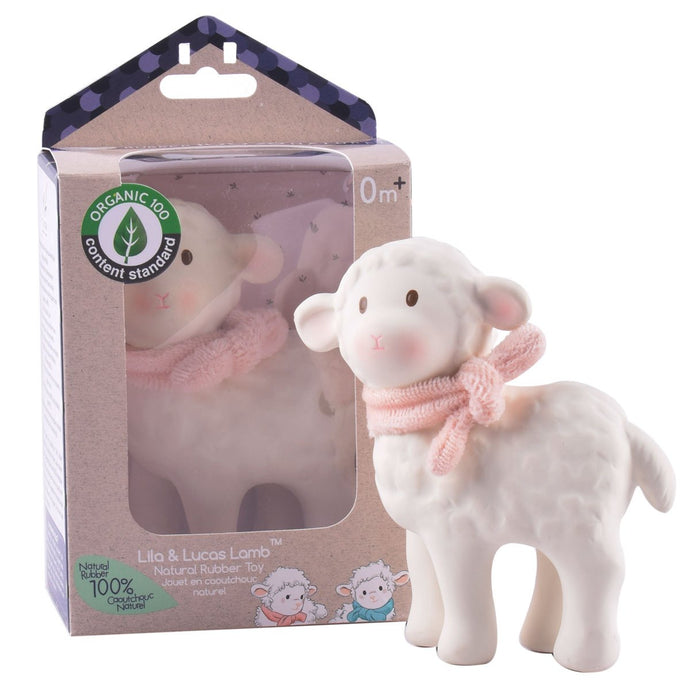 Lila Lamb Natural Rubber Toy With Pink scarf - Tikiri Toys