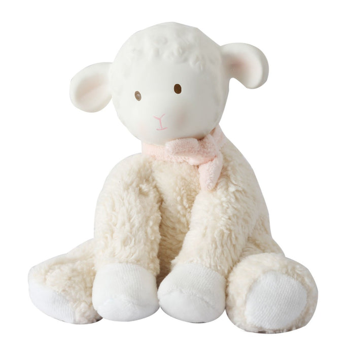 Lila Lamb Rubber Head Toy in Pink Scarf - Tikiri Toys