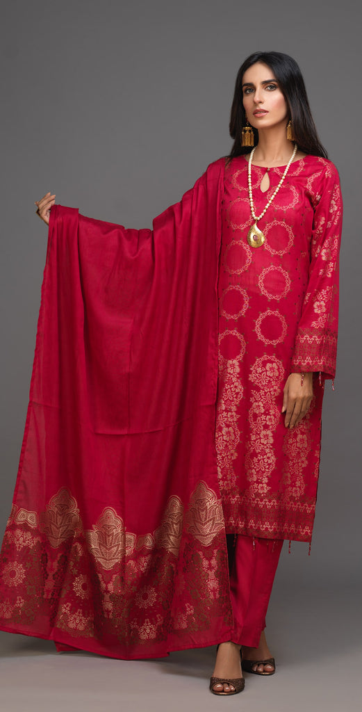 Stitched 3pc Jacquard Cambric Shirt with Jacquard Cambric Dupatta (WK-377A)