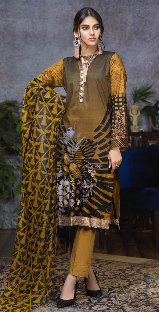 Stitched Printed Cambric Shirt with Embroidery Sleeves  and Embroidered Neck Lace ,  Printed Chiffon Dupatta & Dyed Trouser (RC-172B)