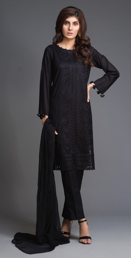 Stitched Lawn Shirt with Embroidered Front  , Embroidered Chiffon Dupatta & Cambric Trouser I 3pc (BW-11)