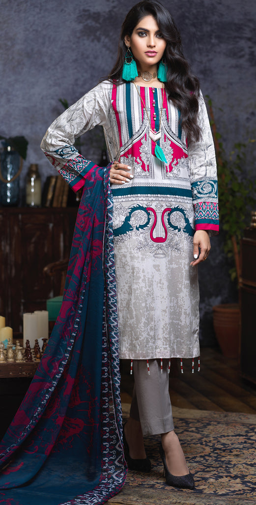 Silkoria Printed Cambric Ribs Unstitched 3pc suit with Embroidered Front & Chiffon Dupatta (RC-170A)