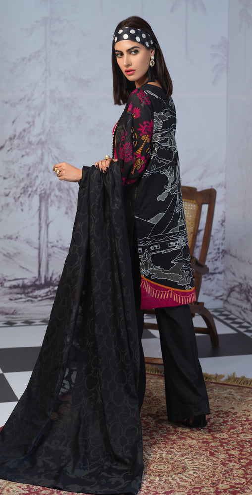 Printed Lawn Shirt with Embroidered Front & Lawn Jacquard Dupatta | Festive Poshmal 3pc (WK-309A)