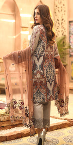 Printed Lawn with Embroidered Shirt , Chiffon Embroidered Dupatta & Trouser Bunches | 3pc (WK-294B)