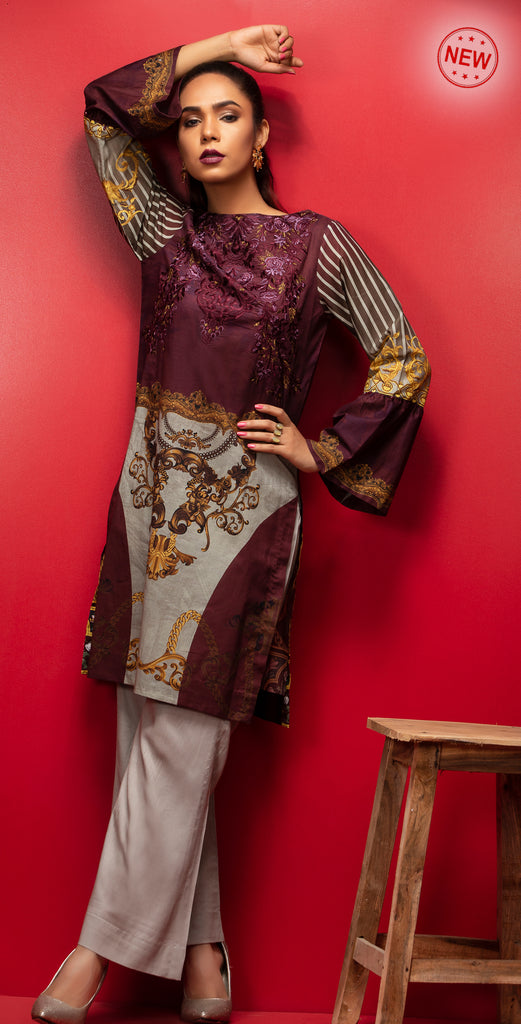 Stitched Digital Printed Embroidered Lawn Kurta with Embellishments I 1Pc  Casual Pret (CP-06)