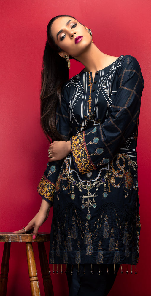 Stitched Digital Printed Embroidered Lawn Kurta with Embellishments | 1Pc  Casual Pret (CP-04)