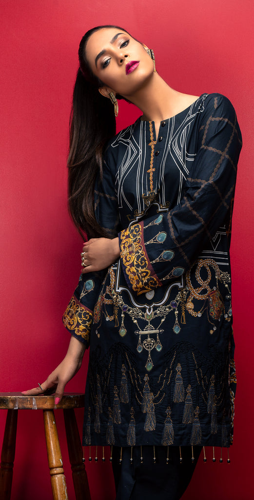 Stitched Digital Printed Embroidered Lawn Kurta with Embellishments I 1Pc  Casual Pret (CP-04)