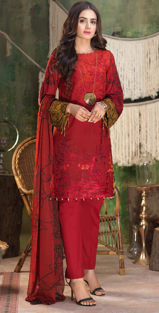 Stitched Printed Lawn Shirt with Embroidered Front , Printed Chiffon Dupatta & Cambric Trouser I Z'ure 3pc (WK-313A)