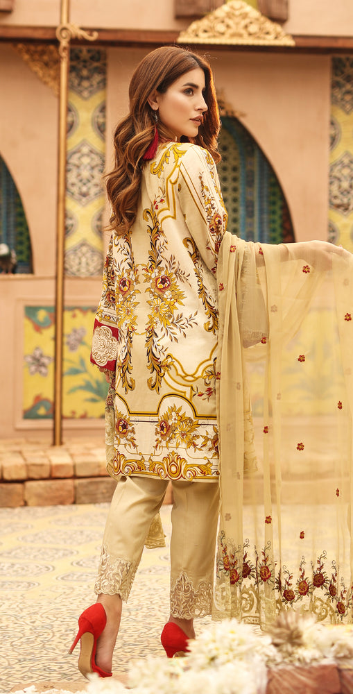 Printed Lawn with Embroidered Shirt , Chiffon Embroidered Dupatta & Trouser Bunches | 3pc (WK-293A)