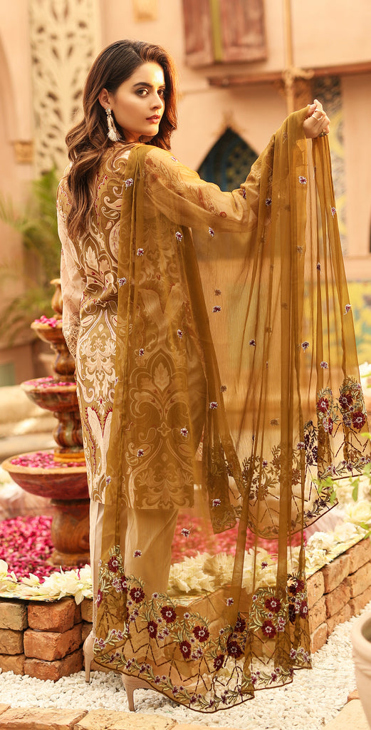 Festive Stitched Printed Lawn with Embroidered Shirt , Chiffon Embroidered Dupatta & Trouser Bunches I 3pc (WK-294A)