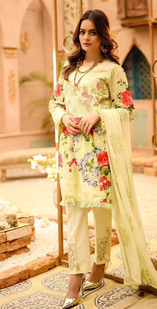 Festive Printed Lawn with Embroidered Shirt , Chiffon Embroidered Dupatta & Trouser Bunches | 3pc (WK-291A)