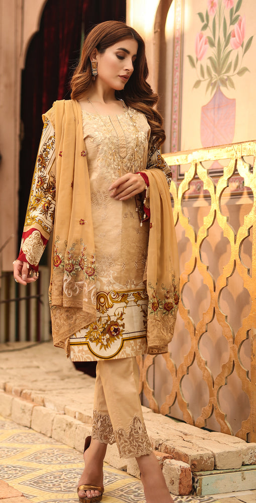 Printed Lawn with Embroidered Shirt , Chiffon Embroidered Dupatta & Trouser Bunches | 3pc (WK-293B)