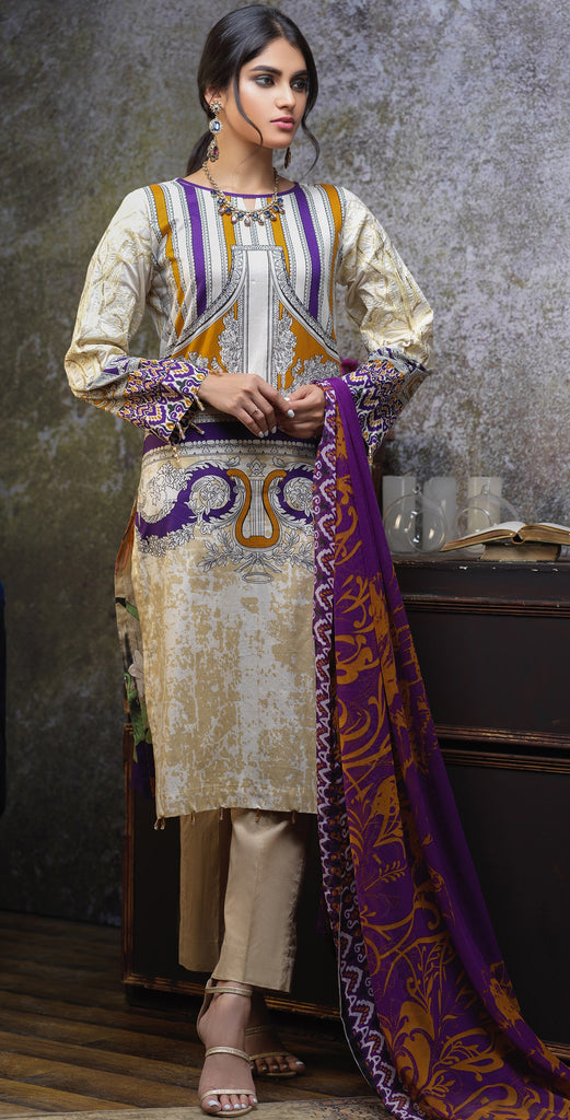Stitched Printed Cambric Shirt with Embroidery Sleeves  , Printed Chiffon Dupatta & Dyed Trouser (RC-170B)