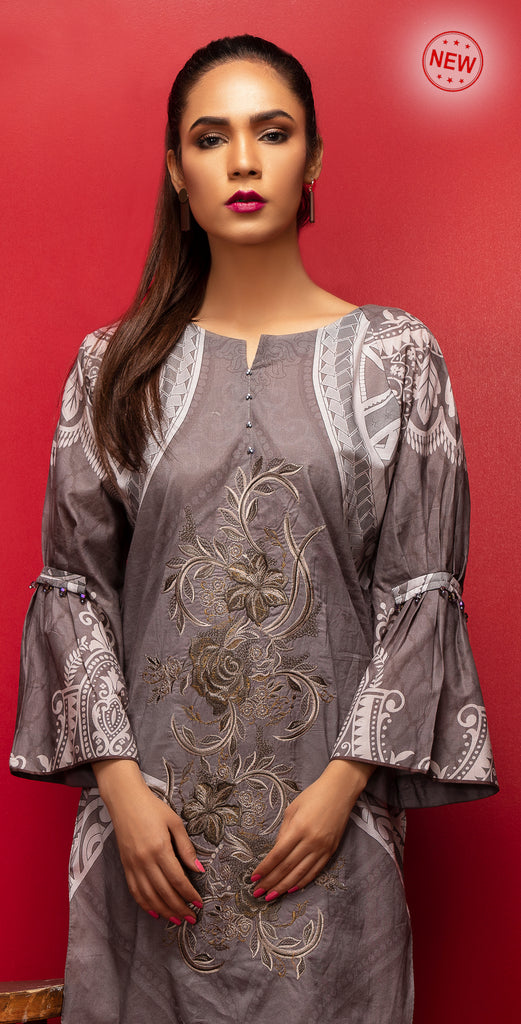 Stitched Digital Printed Embroidered Lawn Kurta with Embellishments I 1Pc  Casual Pret (CP-03)