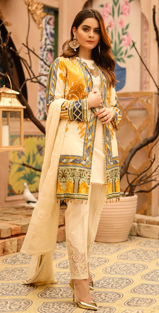 Printed Lawn with Embroidered Shirt , Chiffon Embroidered Dupatta & Trouser Bunches | 3pc (WK-292A)