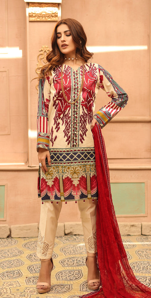 Printed Lawn with Embroidered Shirt , Chiffon Embroidered Dupatta & Trouser Bunches | 3pc (WK-292B)
