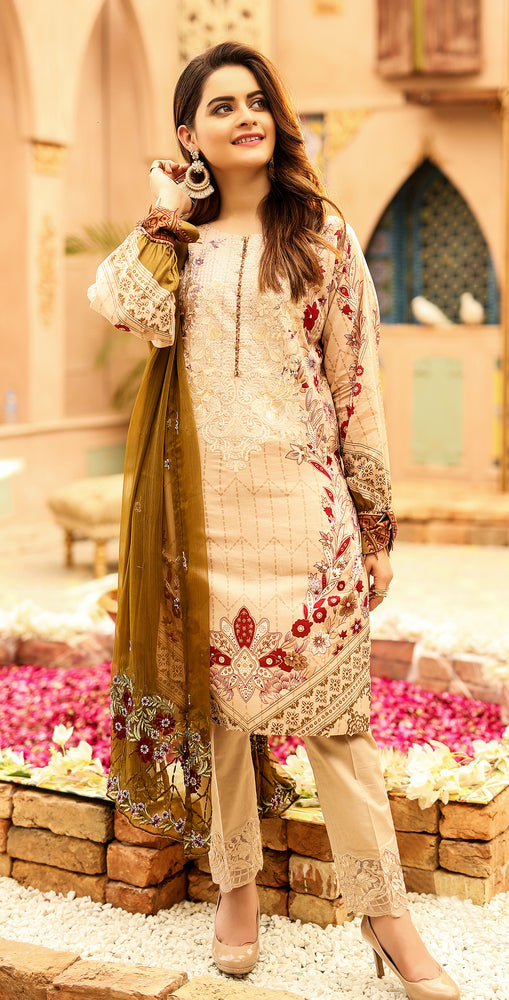 Printed Lawn with Embroidered Shirt , Chiffon Embroidered Dupatta & Trouser Bunches | 3pc (WK-294A)