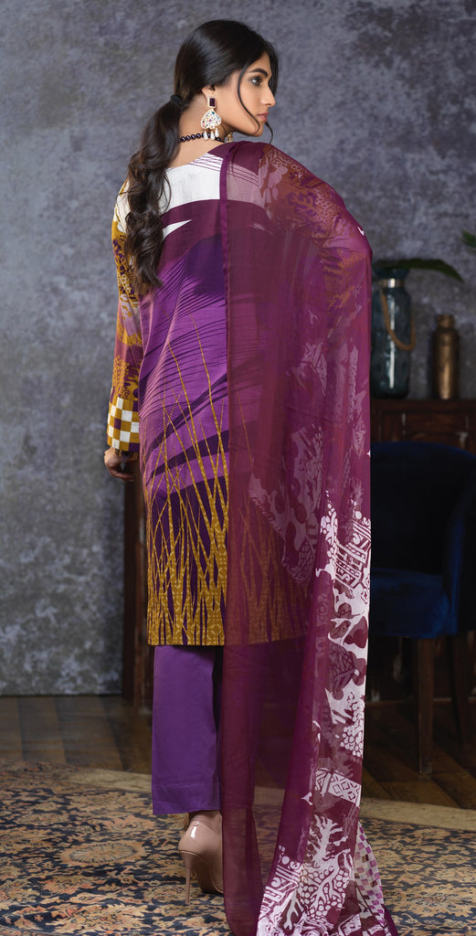 Stitched Printed Cambric Shirt with Embroidered Front  , Printed Chiffon Dupatta & Dyed Trouser (RC-171B)