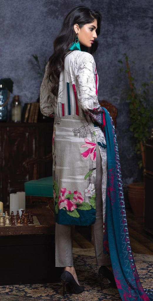 Stitched Printed Cambric Shirt with Embroidery Sleeves  , Printed Chiffon Dupatta & Dyed Trouser (RC-170A)