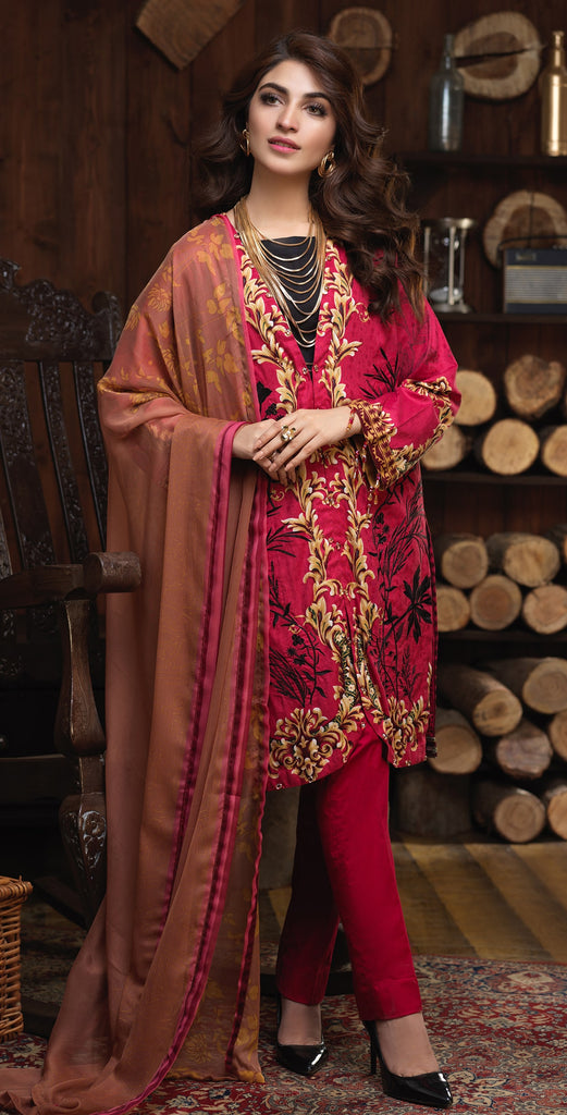 (Sale) Un-sticthed 3pc Jacquard Cambric Embrodered  Shirt with Printed Chiffon Dupatta (WK-00342A)