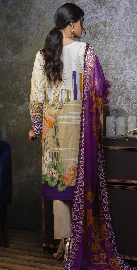 Silkoria Printed Cambric Ribs Unstitched 3pc suit with Embroidered Front & Chiffon Dupatta (RC-170B)