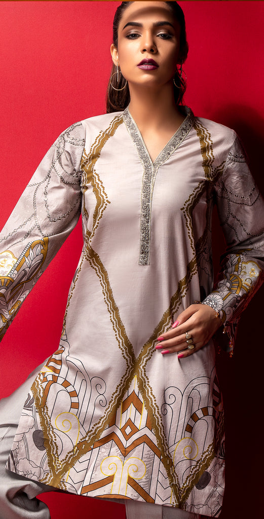 Stitched Digital Printed Embroidered Lawn Kurta with Embellishments I 1Pc  Casual Pret (CP-08)