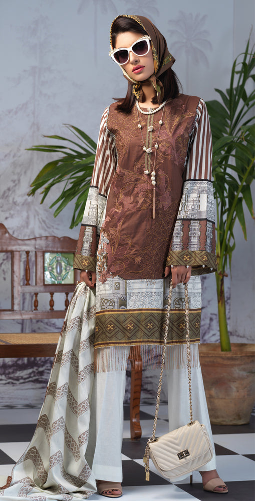 Printed Lawn Shirt with Embroidered Front & Lawn Jacquard Dupatta | Festive Poshmal 3pc (WK-308A)