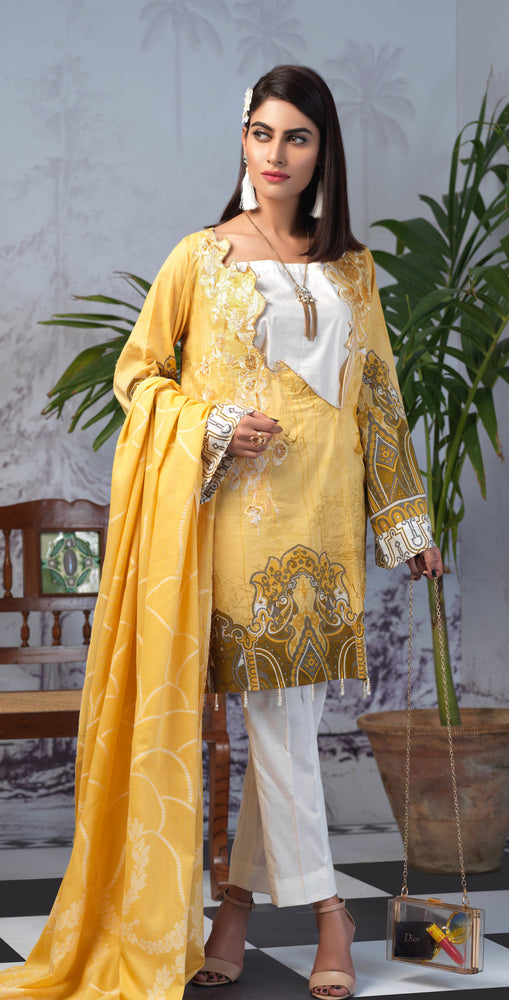 Printed Lawn Shirt with Embroidered Front & Lawn Jacquard Dupatta | Festive Poshmal 3pc (WK-312A)