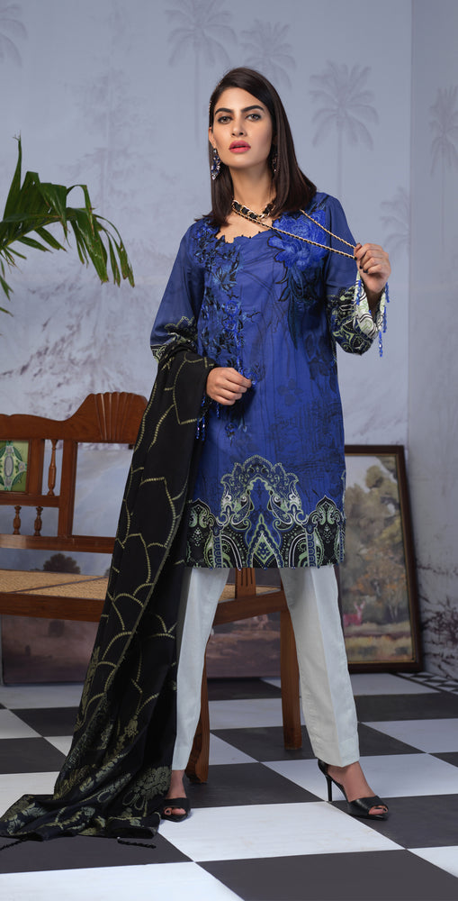 Printed Lawn Shirt with Embroidered Front & Lawn Jacquard Dupatta | Festive Poshmal 3pc (WK-312B)