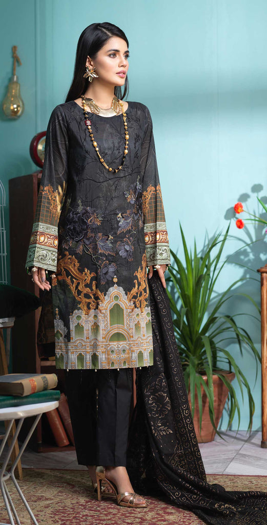 Stitched 3pc Digital Printed Lawn Shirt with Embroidered Front  & Brasso  Dupatta - Rococo  (WK-320)