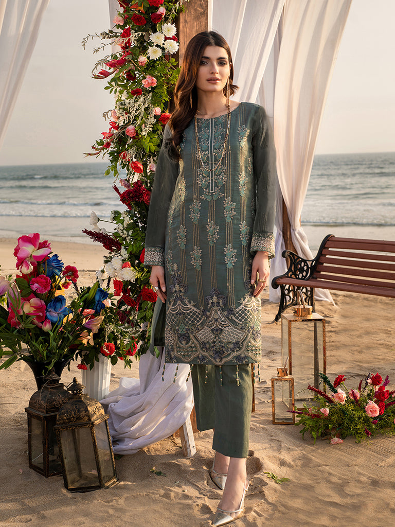 Sea Foam-1pc Unstitched Luxury Embroidered Organza Shirt with Raw Silk Inner (wk-00630)