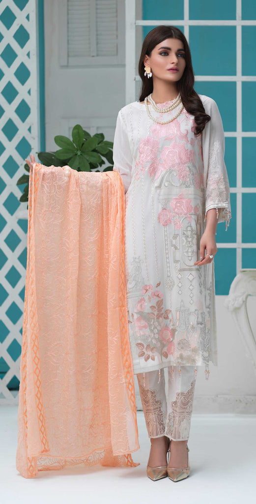 Unstitched 3pc Luxury Embroidered Swiss Shirt with Embroidered Chiffon Dupatta and Trouser Bunches - Swiss(WK-350)