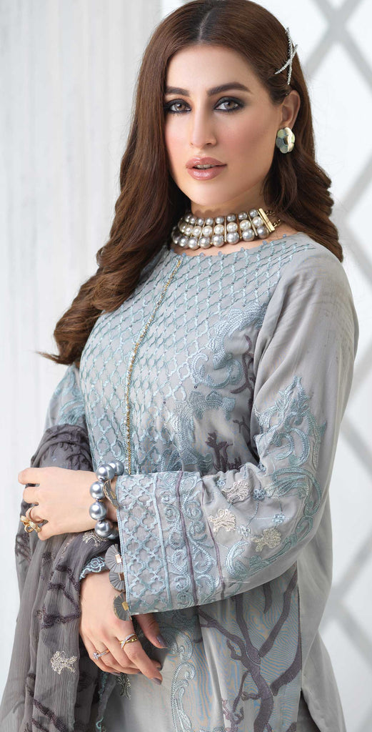 Unstitched 3pc Luxury Embroidered Swiss Shirt with Embroidered Chiffon Dupatta and Trouser Bunches - Swiss(WK-352)