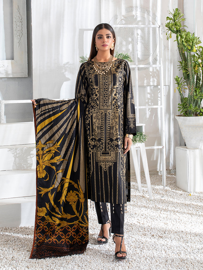 3pc Printed Cambric Shirt with Printed Lawn Dupatta & Cambric Trouser- Inaya (IP-00044B)