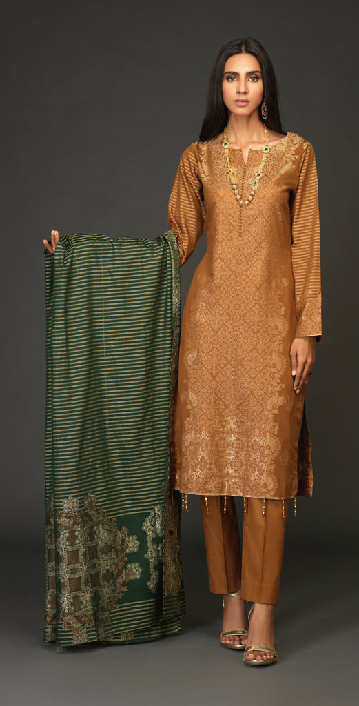 Unstitched 3pc Jacquard Shirt with four side Jacquard  Dupatta -JacquardClassic (WK-519B)