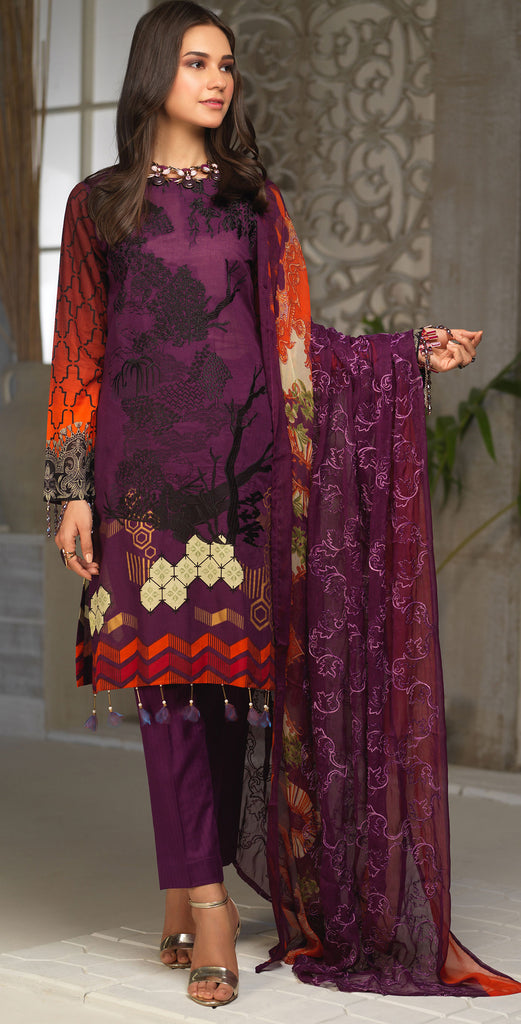 Unstitched 3pc Printed Embroidered Lawn Shirt with Printed Embroidered Chiffon  Dupatta - Fasutina WK-00532B)