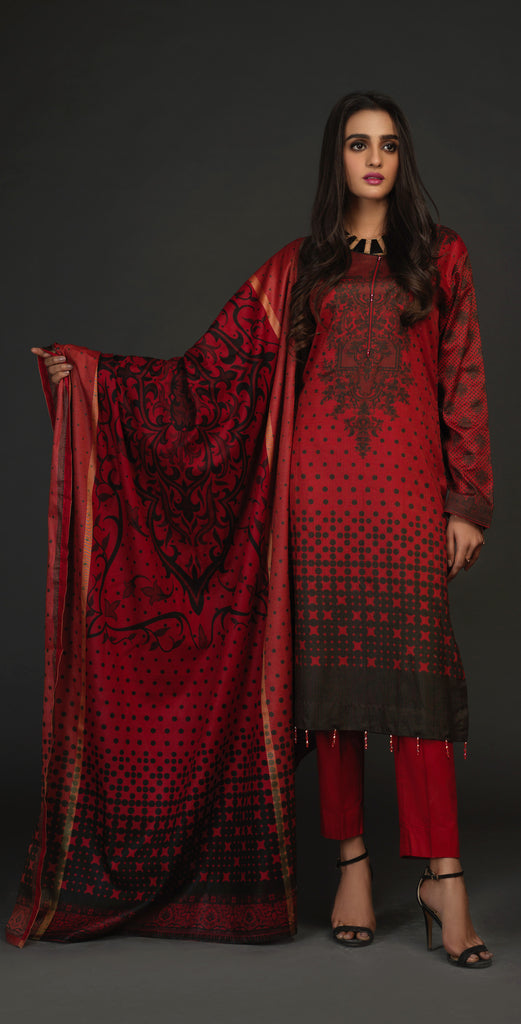 Unstitched 3pc Lawn Maysuri Shirt with Maysuri Dupatta - MaysuriGold (IP-17)
