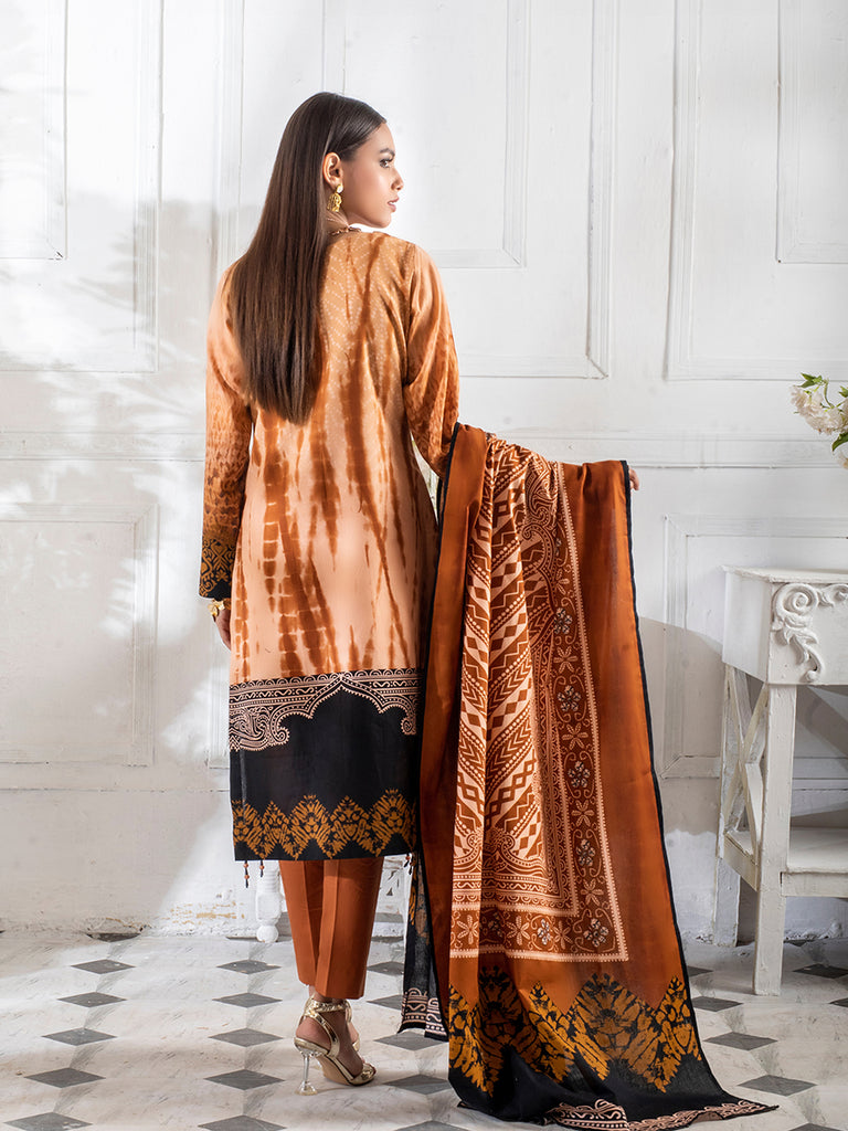 3pc Printed Cambric Shirt with Printed Lawn Dupatta & Cambric Trouser - Inaya (IP-00050A)