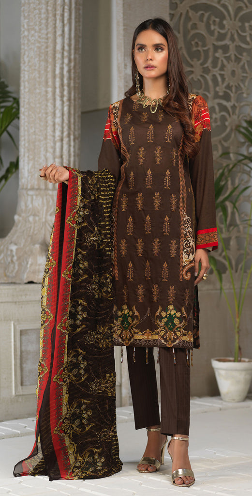Unstitched 3pc Printed Embroidered Lawn Shirt with Printed Embroidered Chiffon  Dupatta - Fasutina (WK-00530A)