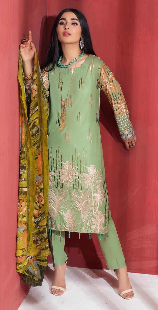 Stitched 3pc Printed Embroidered Lawn Shirt with Printed  Chiffon  Dupatta - Zure  (WK-00528A)
