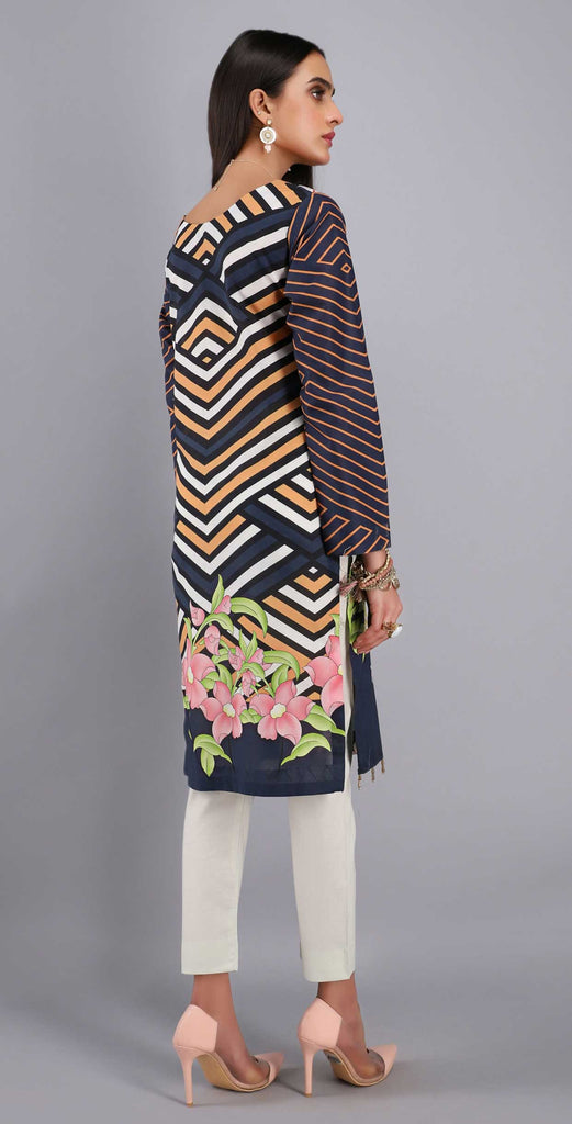Unstitched 1pc Digital Printed Lawn Shirt - UK-03