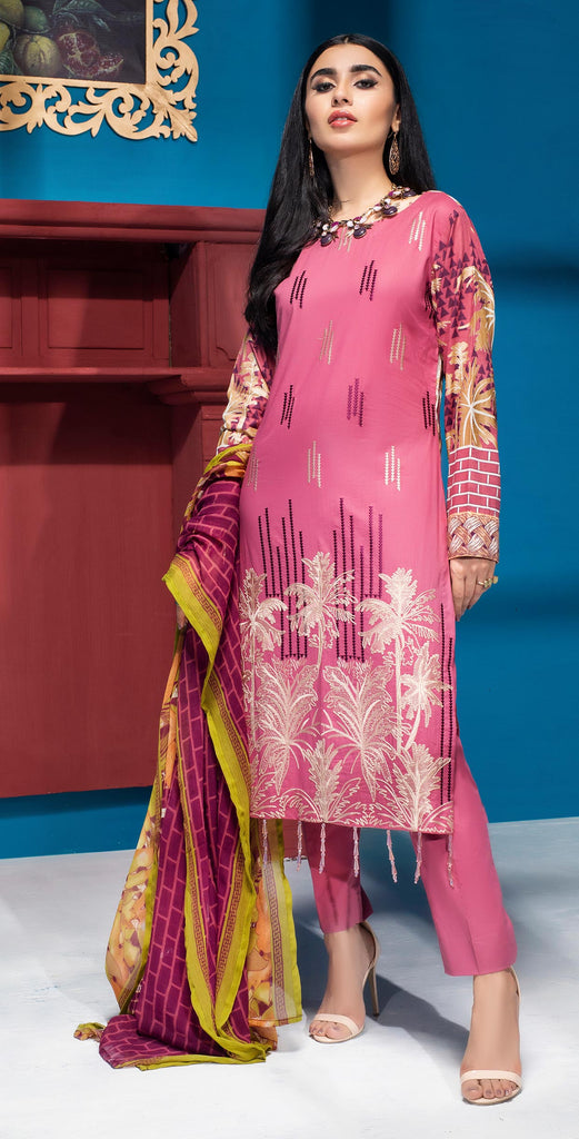 Unstitched 3pc Printed Embroidered Lawn Shirt with Printed  Chiffon  Dupatta - Zure  (WK-00528B)