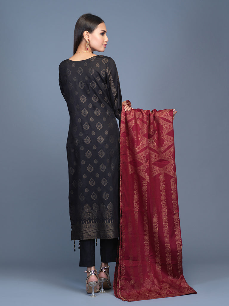 Unstitched 3pc Cambric Jacquard  Shirt with Cambric Jacquard  Dupatta - Jacquard classic (WK-00599)