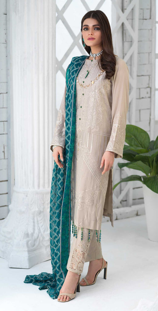 Unstitched 3pc Luxury Embroidered Swiss Shirt with Embroidered Chiffon Dupatta and Trouser Bunches - Swiss(WK-355)