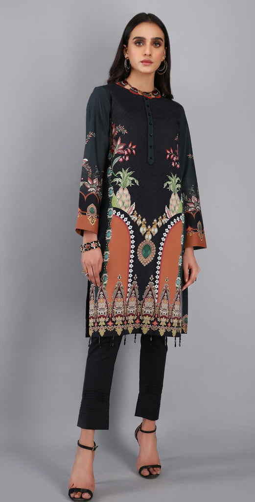 Unstitched 1pc Digital Printed Lawn Shirt - UK-02