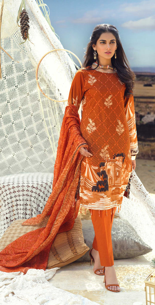 Unstitched 3pc Printed Lawn Embroidered Shirt with Printed  Embroidered Chiffon Dupatta - FAUSTINA (WK-503B)